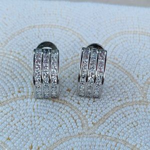 Cubic zirconia and sterling earrings